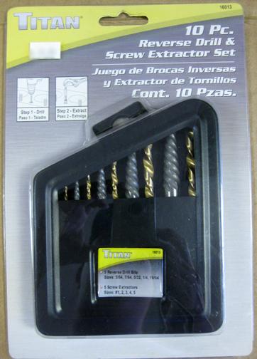 Titan 10pc Reverse Drill & Screw Extractor Set